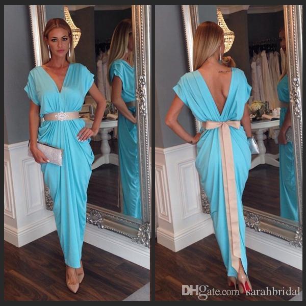 2021 arabe Kaftan charmant bleu soirée robe de bal arabe Abaya Dubai long Sexy V-cou personnalisé en mousseline de soie fait robes de bal occssion spéciale