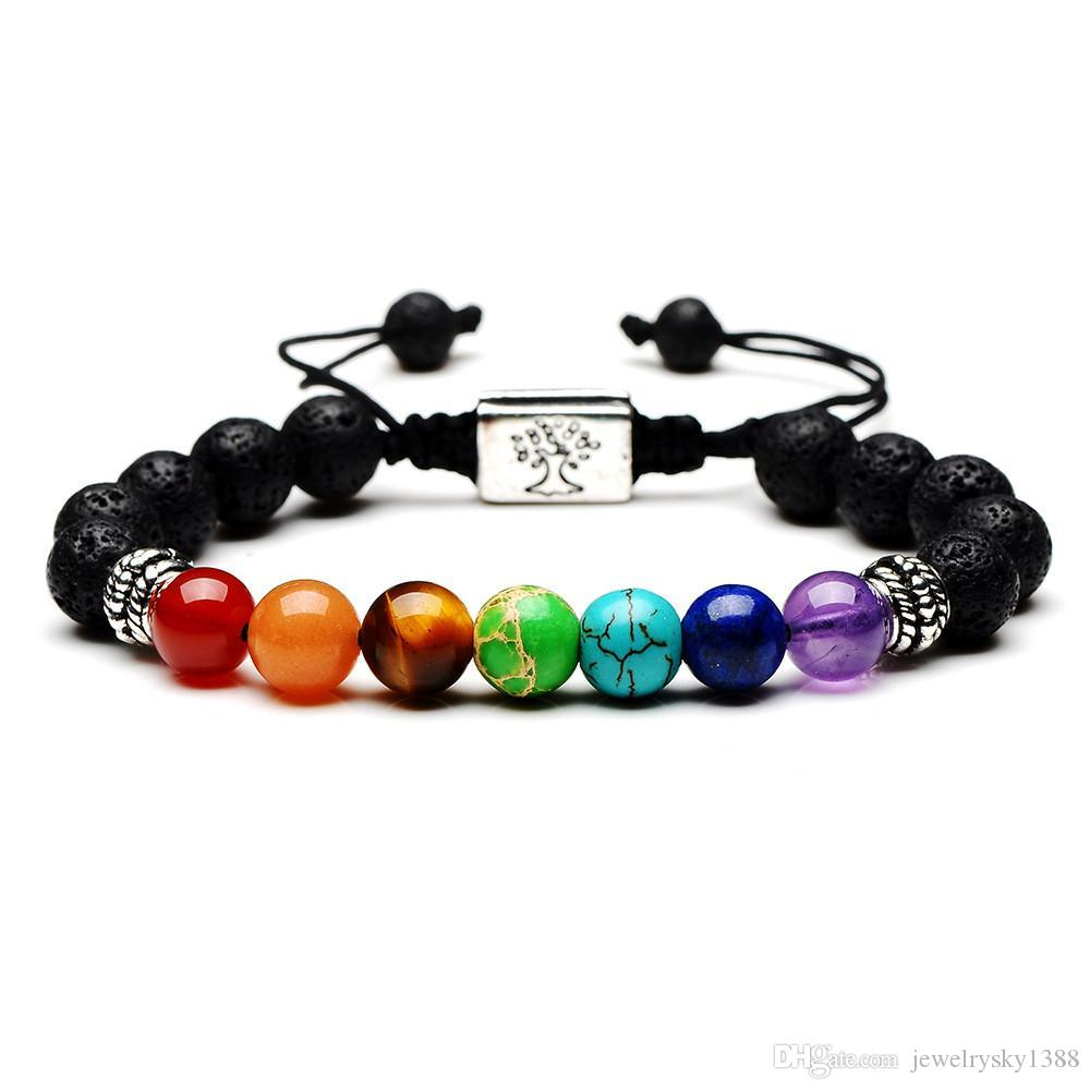 7 Chakras Árbol de la vida con piedras encanto de pulsera de yoga Multicolor