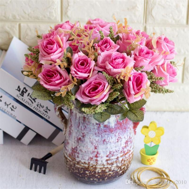 Fake Rose Bunch (5 stems/piece) Simulation Oil Painting Rose with Foam Fruit for Wedding Home Decorative Artificial Flowers