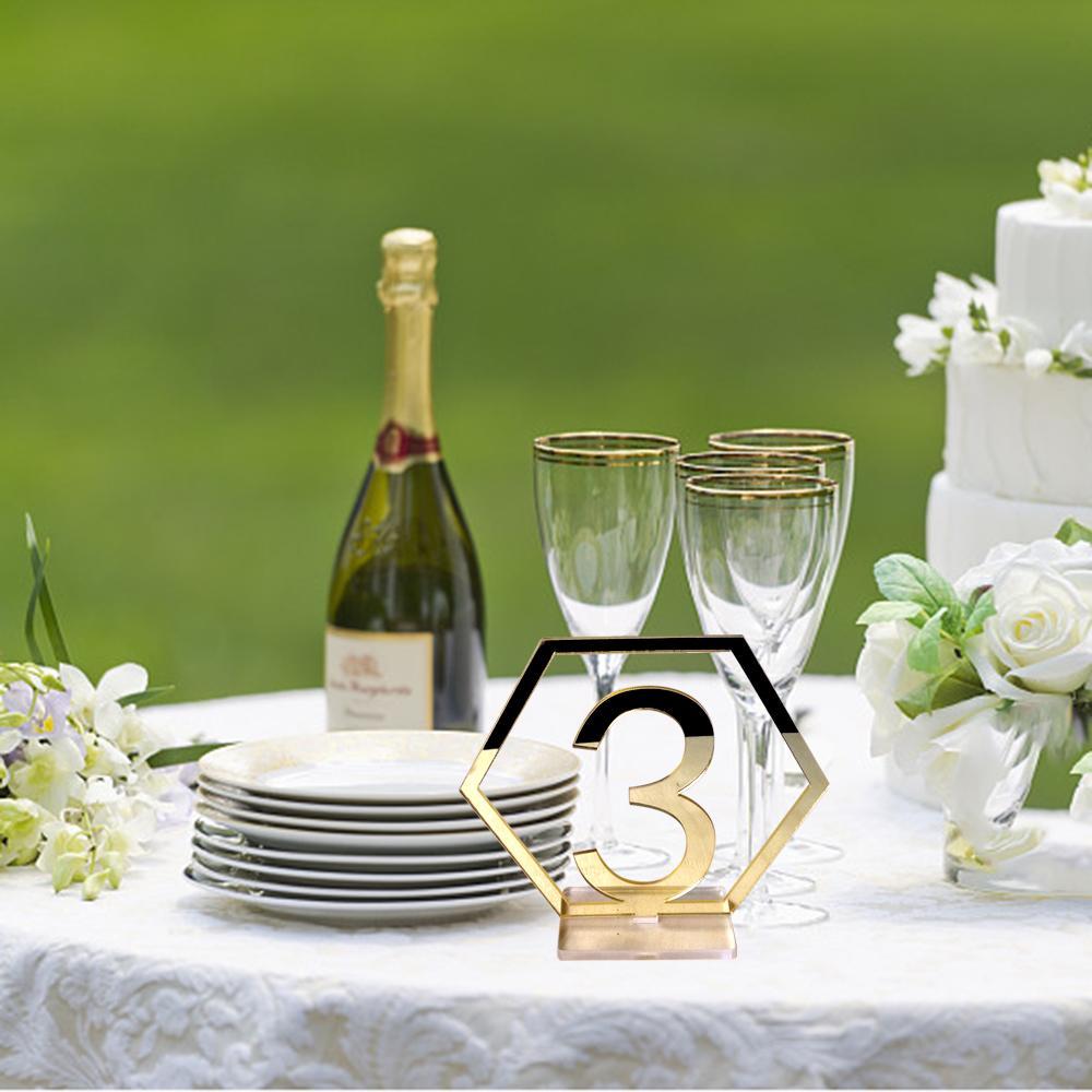 Commercio all'ingrosso 1-20 segni numeri di tabella di nozze esagonale con base acrilico numeri di tabella del ristorante per forniture di decorazione della festa nuziale