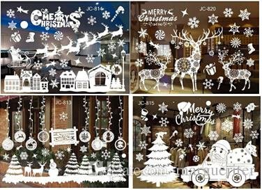 Christmas Tree Snowflake Decal Wall Sticker Creative Removable DIY Christmas Ornament Glass Window Sticker Kids Room Decoration