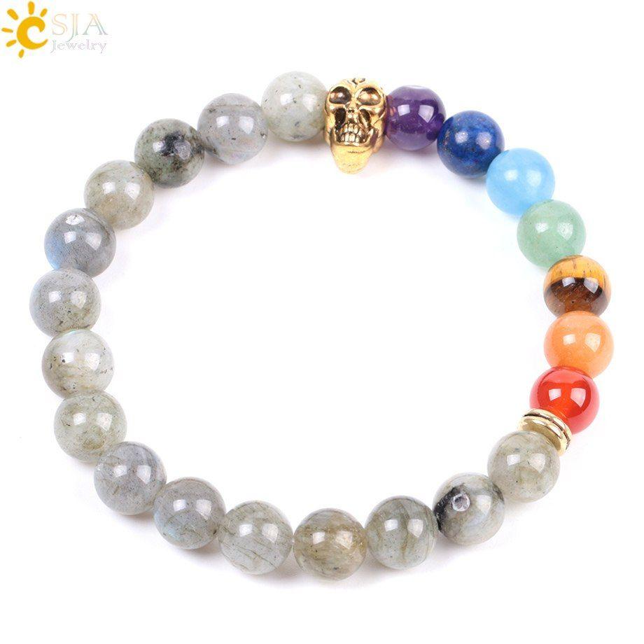CSJA Gold Skull Bracelet for Men 7 Chakras Beaded Jewelry Natural Spectrolite Labradorite 8mm Chakra Beads Wrap Bangle Boyfriend Gift E994