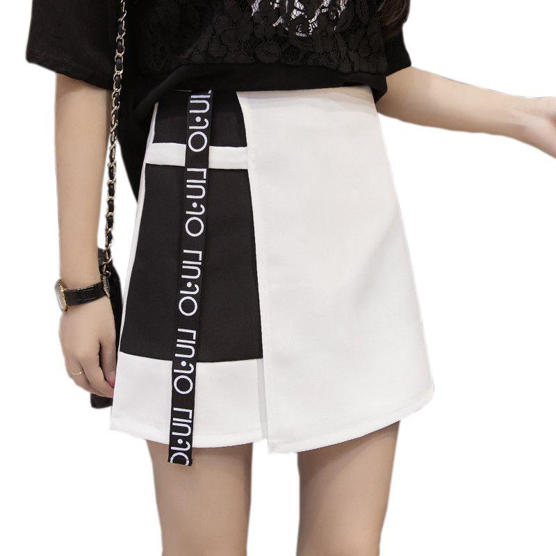 Verano 2018 faldas de la gasa estilo de la moda de Corea del remiendo de las mujeres impresa letra Faldas Mujer una línea anti-luz de cintura alta