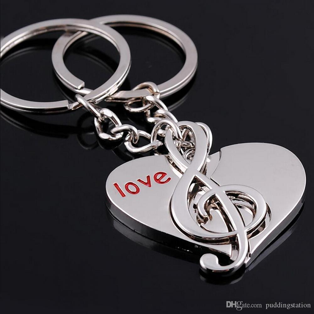 1Pair Zinc Alloy Sweet Music+Love Heart Key Ring Couple Keychain Pendant Lover Gift Keyfob Keyring