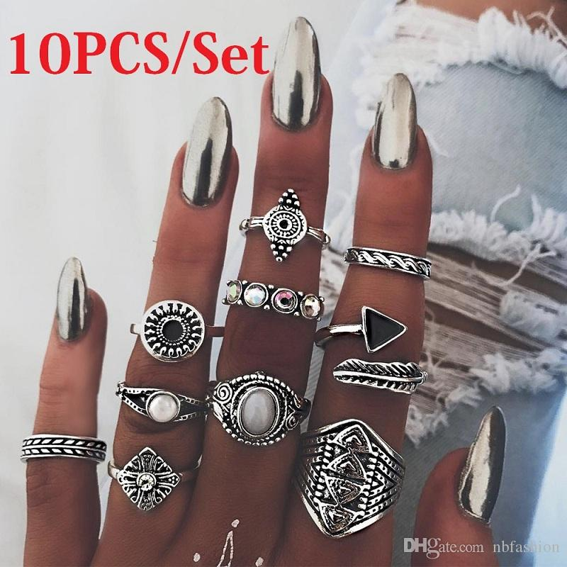 10PCS/set Europe and America Retro rings Gold Silver rings Jewelry with extra free samples at rando