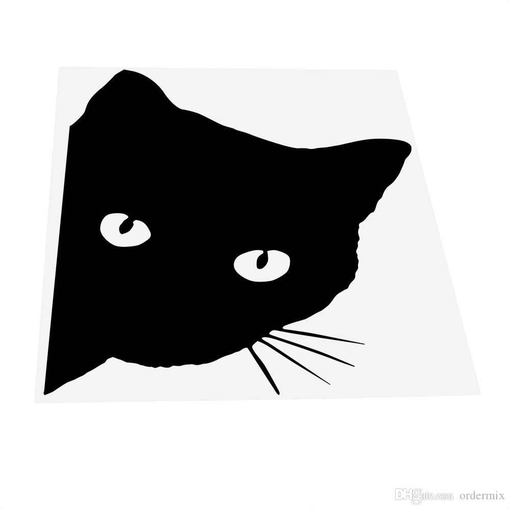 Czarny Kot Samochód Naklejki i naklejki Kalkomanie Pet Styling Car Styling Auto Motocykl Naklejki Okno Drzwi Dekoracji Kot Face Peering 12 * 15cm