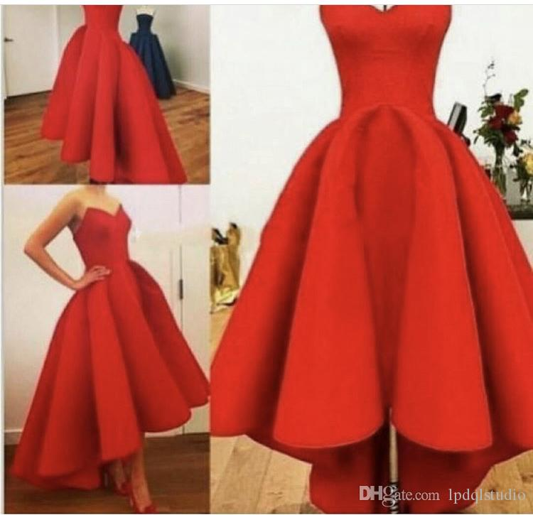 Fancy Hi Lo Satin Prom Dresses Custom Made Plus Size Zipper/Lace-up Back Party Dress Top Quality Red,Royal Blue,Black Satin Dress