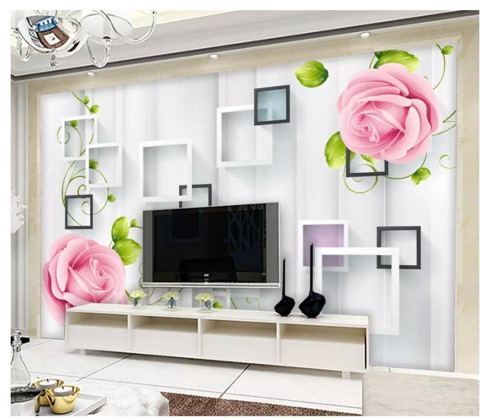 도매 -3D 사진 벽지 사용자 정의 3D 벽 벽화 벽지 현대 아름 다운 프레임 장미 꽃 덩굴 예술 배경 벽 그림 장식