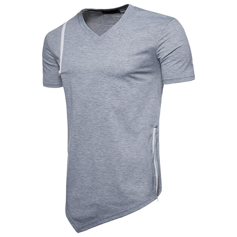 Mens camiseta Engraçado bainha Ombro zipper algodão casual T shirt homens de Fitness moda de manga curta roupas de verão Com Decote Em V tops t-shirt