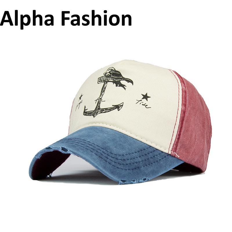 ألفا الأزياء عالية الجودة ماركة مطبوعة الهيب هوب كاب النساء غسلها الرجال قبعة بيسبول العظام الأزياء قبعة في الدراجات قبعة D18110601