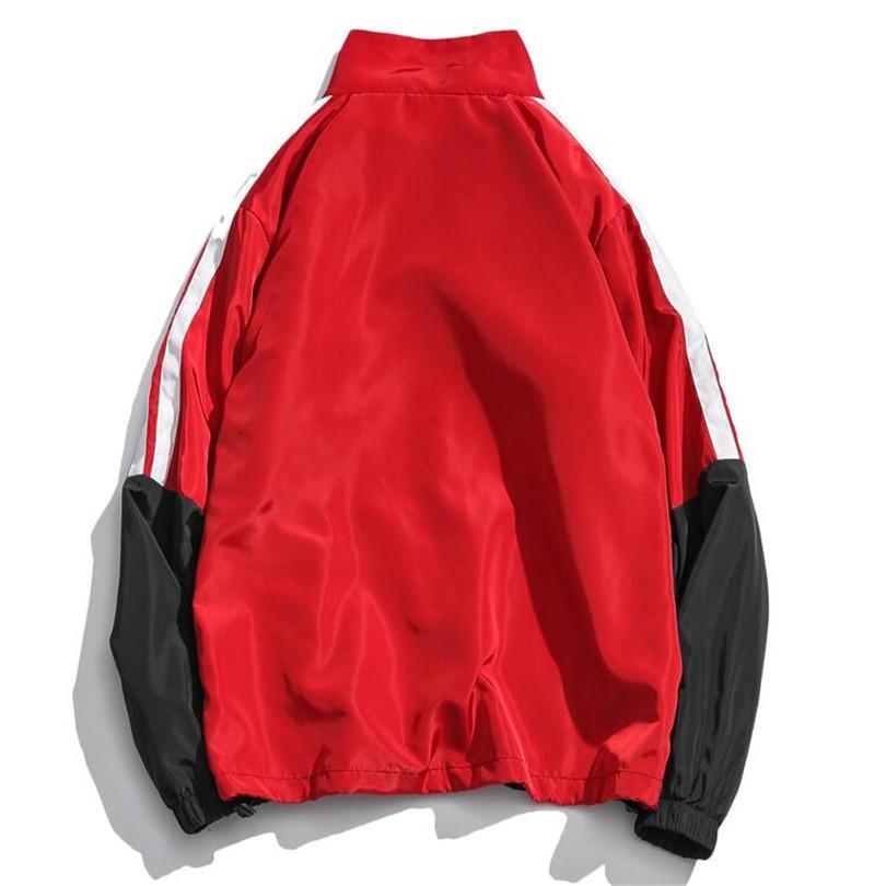 Asstseries Chaquetas rompevientos de Hip Hop Hombres Otoño 2018 Nueva Capa suelta Casual Streetwear Abrigos de impresión de costura de la vendimia Abrigos