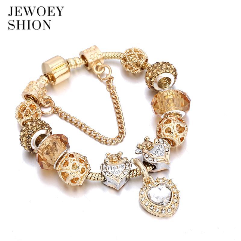 JEWOEY SHION Elegante elegante regalo de la joyería de moda caliente del corazón de oro colgante pulsera encanto pulsera para las mujeres