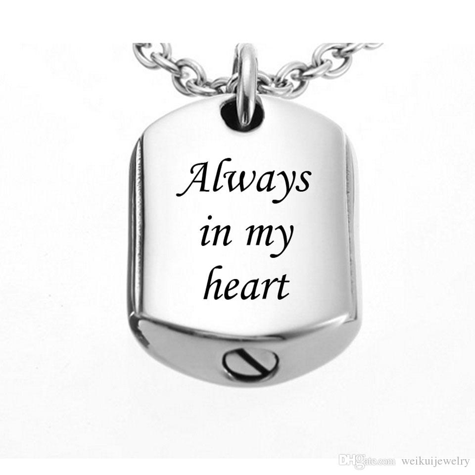 """Personalized Backside Engraving Stainless Steel """"always in my heat""""Cremation Urn Dog Tag Pendant Necklace,Memorial Jewelry"""