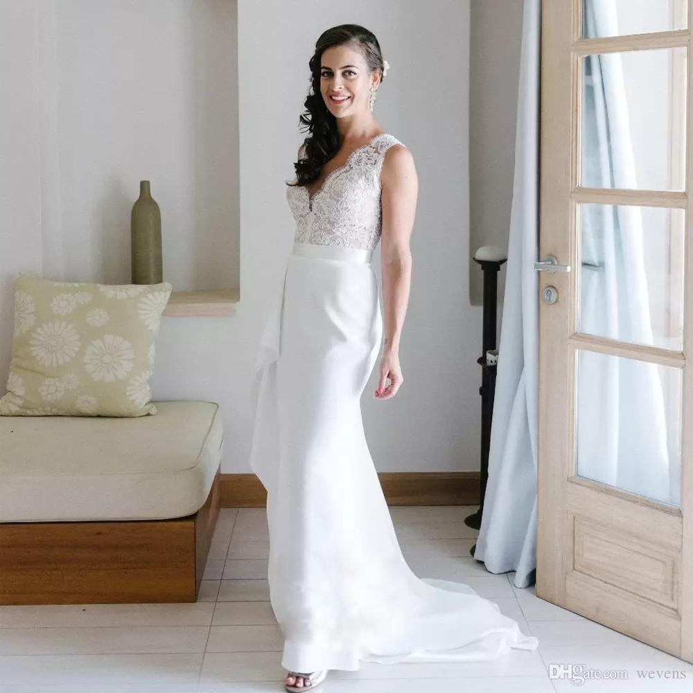New Halter White//Ivory Lace Mermaid Wedding Dresses Sleeveless Bridal Gowns