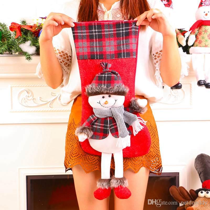 Nouveau Bas de Noël Grand sac cadeau enfants décoration de la chambre Étalage Accrocher Décorations Mignon Fanny Bas de Noël