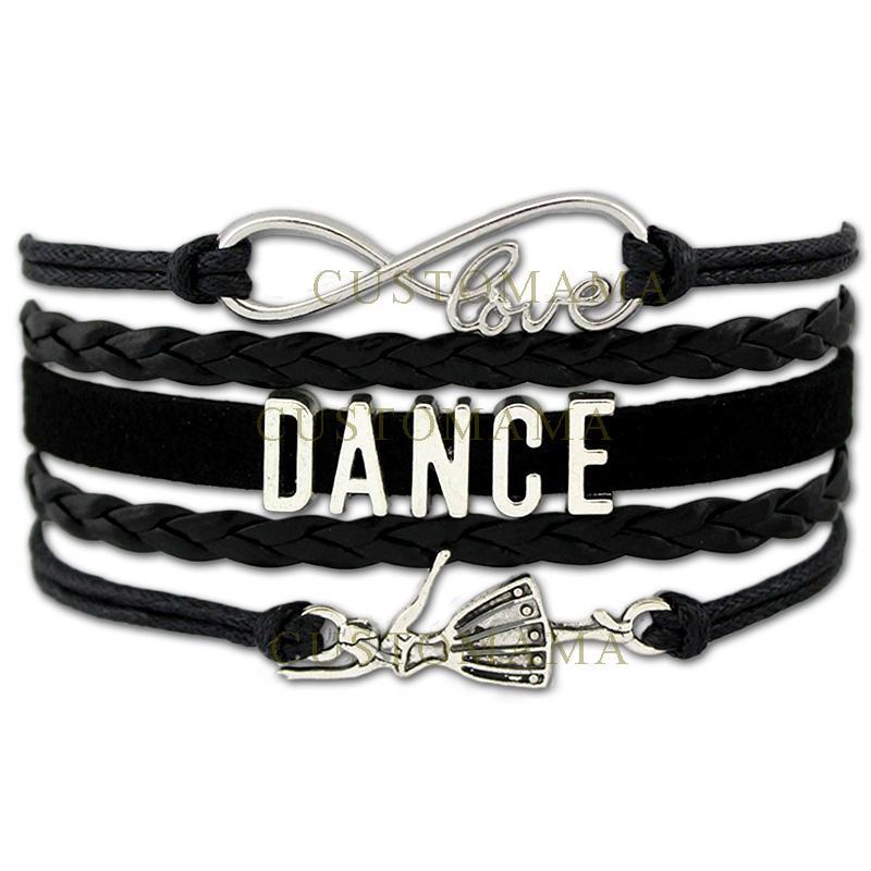 (10 PCS / Lot) Infinity Love Dance Wrap Bracelets Pour Femmes Hommes Cadeau Danseur Danse Bracelet En Cuir Noir En Daim Personnalisé Bijoux