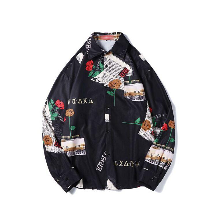 Męskie Koszule Koszule Streetwear Moda Mężczyzna Wzór Druku Z Długim Rękawem Jesienne Topy Męskie