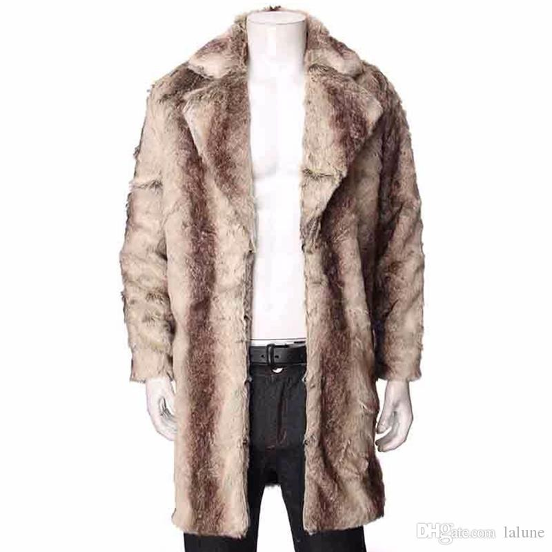 Großhandel Herren Kaschmir Graben Mantel Winter Starker Warmer Faux Fox Pelz Jacken Lange Plus Size Flauschiges Fell Overcoat Manteau Homme Von