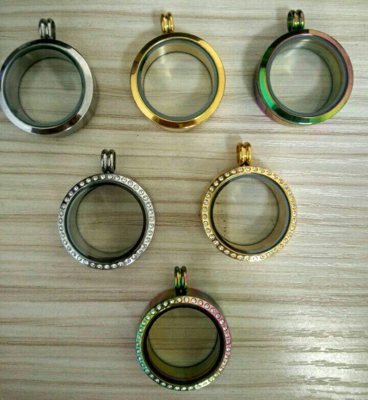 Whoelsale 30 MM oro del arco iris plata marrón negro medallones flotantes magnéticos acero inoxidable 316l medallón de memoria de vidrio 6 estilos SL010