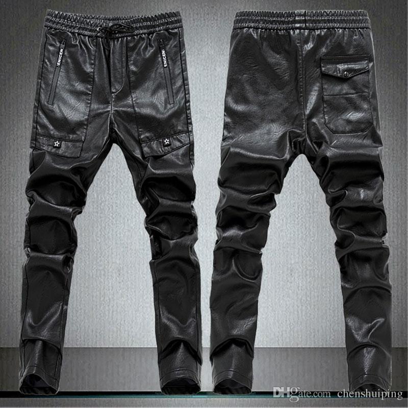 Nouveau Hip Hop Hommes Noir Couleur PU Pantalon En Cuir Moto Maigre En Plein Air Slim Fit Pant Livraison gratuite