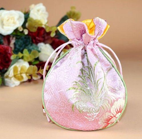 11x14CM ، حقيبة المجوهرات ، كيس هدية الصينية التقليدية الحرير الستاتين الحقيبة الصغيرة الرباط مجوهرات تغليف نمط مختلط