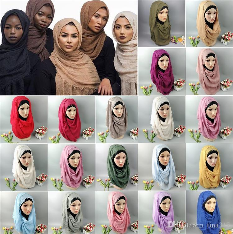 Mujeres Maxi Shawls Oversize Islámica Head Wraps Suave Musulmán raído Crepe Premium Algodón Liso Hijab Bufandas 30 pcs Bufandas