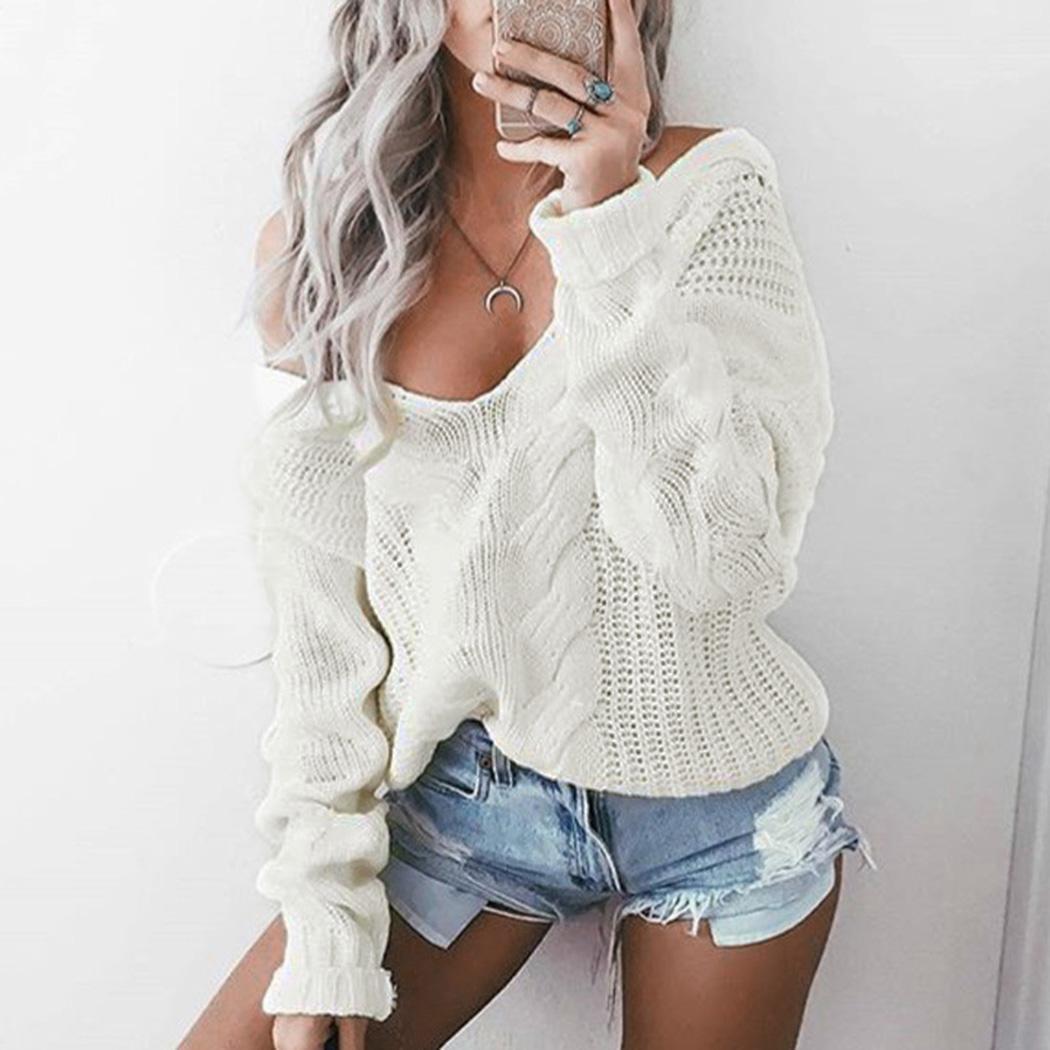 Femmes tricoté pull sexy v-cou torsion pull top automne hiver pull à manches longues style coréen dames pulls tricots z4