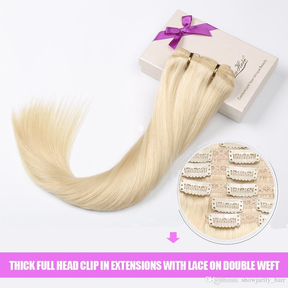 Clip on Hair Extensions hHman Hair Blond Remy Real Vigin Hair Silky Straight Clip in Extensions Full Head Seamless Clip ons