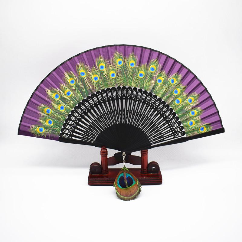 Ventilador de pavo real de alta calidad de seda de pavo real plegado ventilador de bolsillo Handcraft Wedding Party Favors Feather Dance Fan + envío gratuito
