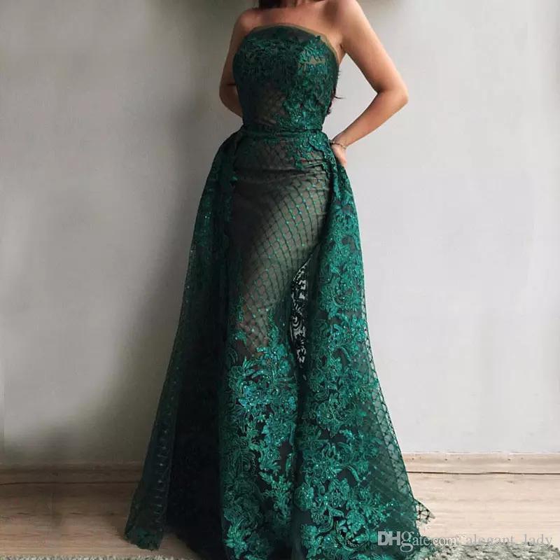 Dark Green Glitter Mermaid Evening Dresses 2018 Long Sparkly Sexy Strapless Elegant Split Formal Prom Gowns Robe De Soiree Party Dress