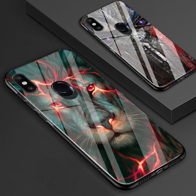 Mi 8 Case китайский дракон лев волк мир анти-взрываются закаленное стекло задняя крышка противоударный case для Xiaomi mi8 Explorer