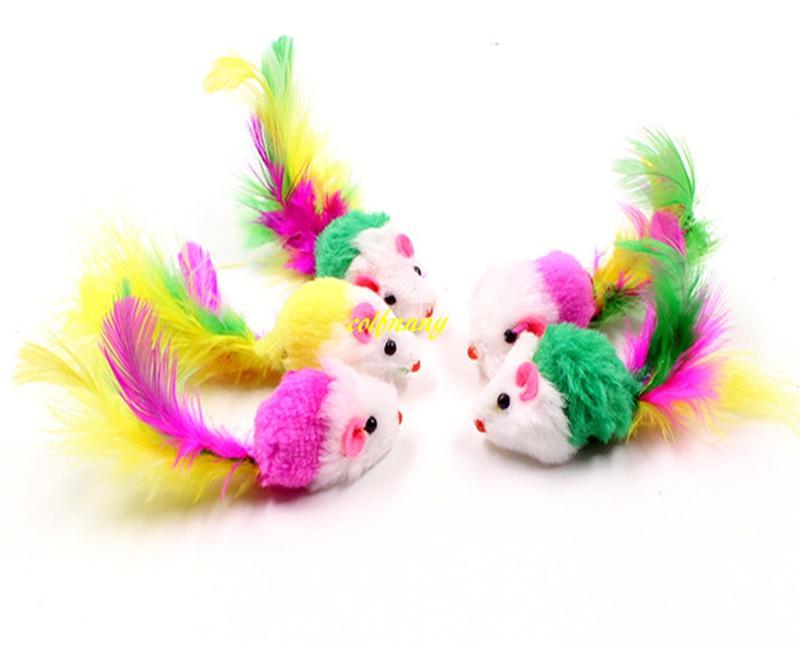 100 pcs / lot Livraison gratuite 2 incn Coloré Plume queue Souris Chat jouet mini Chien Pet souris jouets
