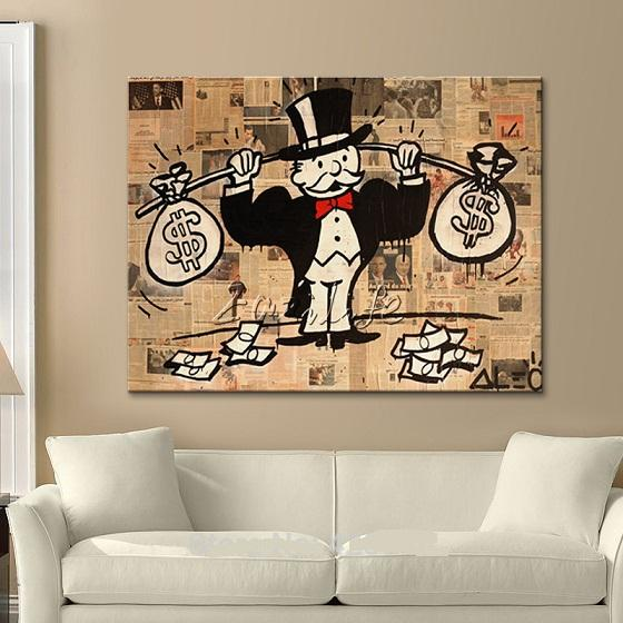Alec Hand-painted Graffiti pop street Art Oil painting money bag On Canvas High Quality Wall Art Home Deco Multi sizes /Frame Option g214