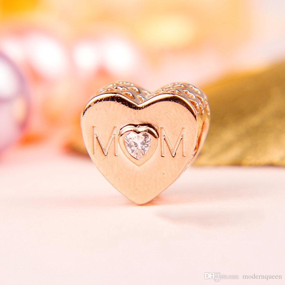 e0294767b15b8 2019 Rose Gold Mom Charms Mother Heart Fits Pandora Style Bracelets  781881CZ H9 From Charmingwholesaler, $31.42 | DHgate.Com