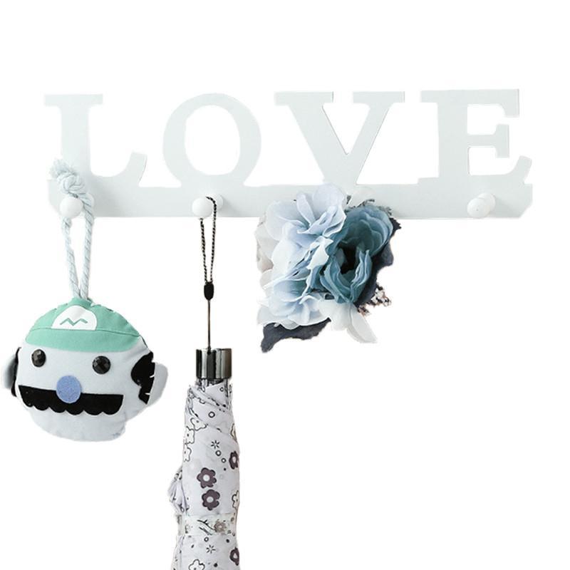 Mur blanc Crochet Ménage Décor Sac À Main Manteau Serviette Porte-clés Crochet Style LOVE Bois Crochet Cintre