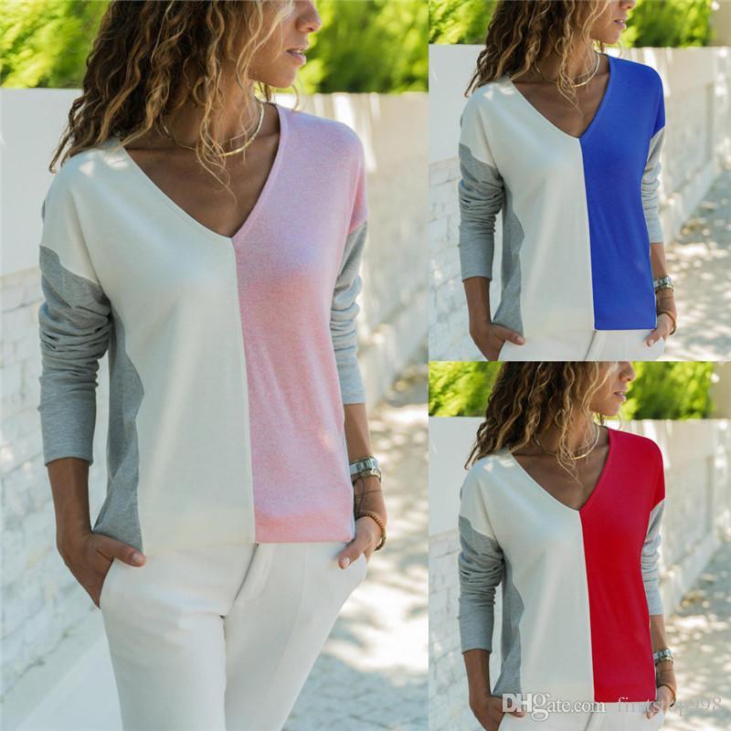 Correspondência de cor t shirt mulheres nova moda parchwork harajuku camiseta femme manga longa com decote em v do sexo feminino t-shirt topos