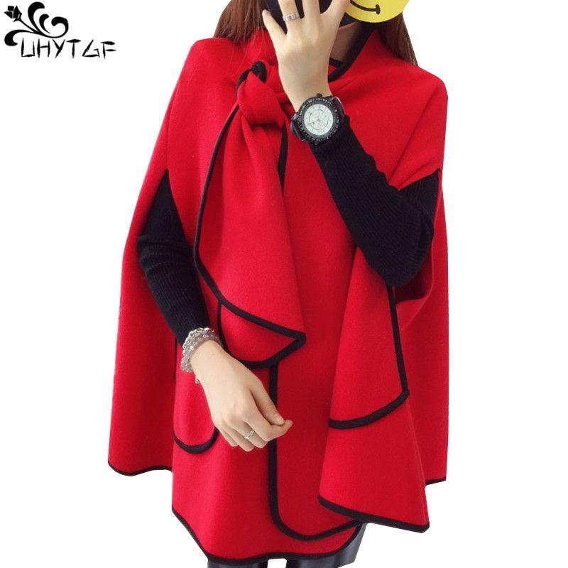 UHYTGF 한국 패션 가을 카디 건 여성 스웨터 하라주쿠 느슨한 겨울 여성 어깨 걸이 레드 블랙 코트 여성 탑 의류 268