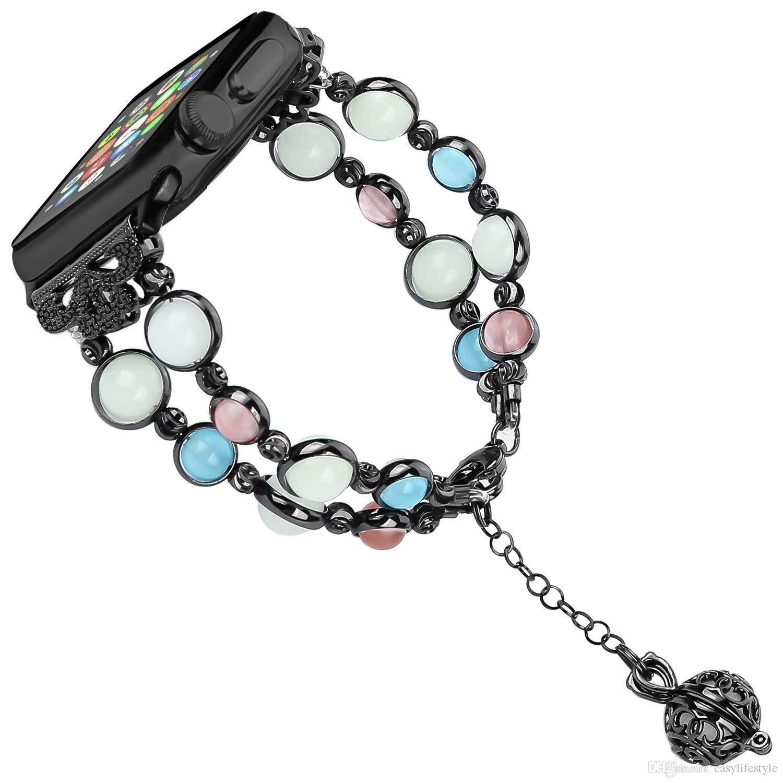 pour Apple montre des bandes lumineuses Série 5/4/3/2/1 38mm 40mm femmes réglable perles faites à la main Bracelet fluorescent Bracelet de remplacement