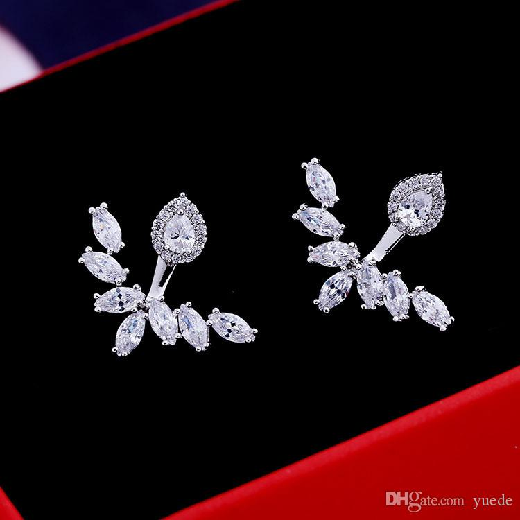 بيع 925 فضة أوروبا كريستال من سواروفسكي الأزياء قطرات الماء البرية الفضة إبرة الراقية الأقراط والمجوهرات الزفاف