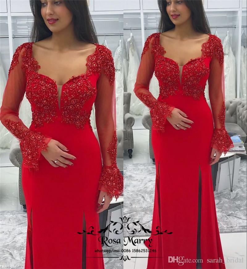 Блестящие Красные Длинные Рукава Русалка Вечерние Платья 2020 Sheer Блестками Бисера Плюс Размер Высокий Сплит Дешевые Юсеф Aljasmi Формальное Вечернее Платье