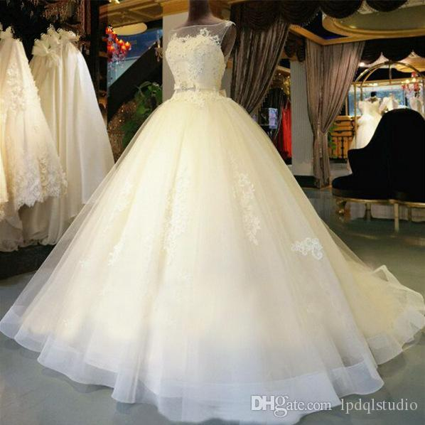 Fancy Ball Gown Wedding Dress Ivory Bridal Gowns High Quality Organza Applique with Shining Sequins Beads Open Back Court Train Wedding gown