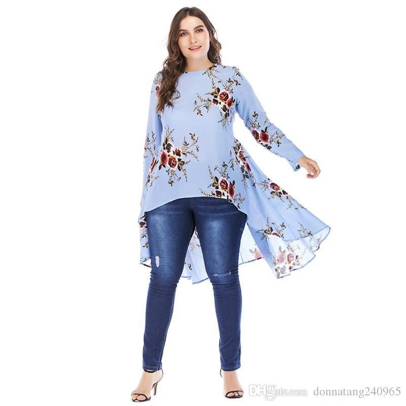 Blusas de volantes irregulares 2018 Nueva llegada Frente Corto trasero Camisas largas para mujer túnica de manga larga top blusas para uso musulmán