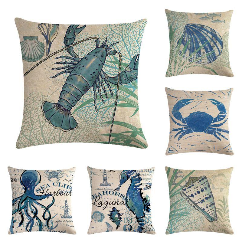 Sea Animals Cotton Linen Sofa Pillow Case Pillow Cover Cushion Cover Home Decor