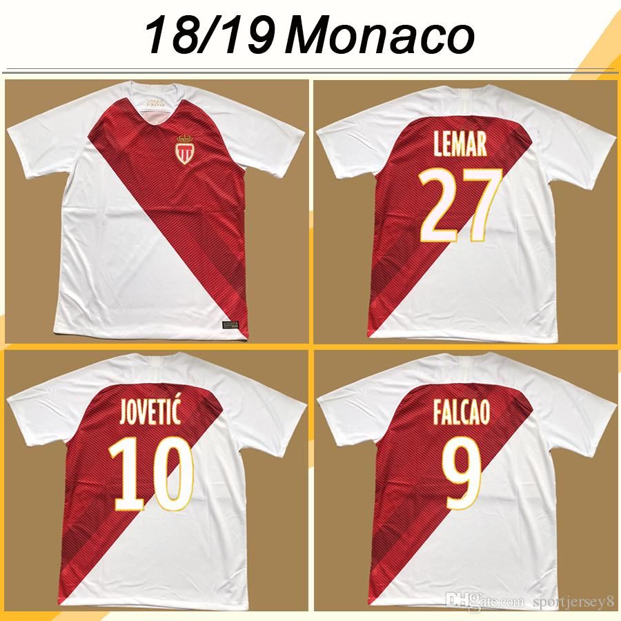 2018 19 AS Monaco Falcao Soccer Teberys Jerseys Jovetic Rony J.moutinho Главная Мужские футболки футбол Головин А.raggi Tielemans Maillot de Foot Chemises