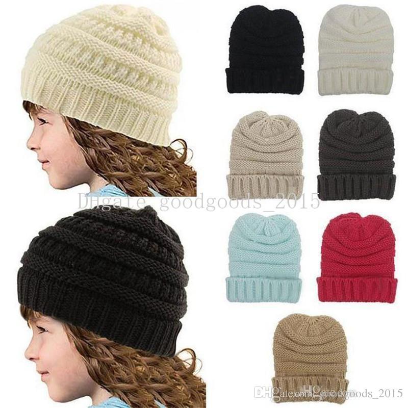 Hot Girls Boy Beanies Winter Knitting Kids Hat Pure Color Hip Hop Skullies Hat DHL Free