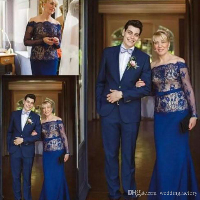 Nuovo modesto abito per la madre della sposa a maniche lunghe con spalle scoperte Pizzo blu royal Champagne Mermaid Abiti da cerimonia per invitati personalizzati