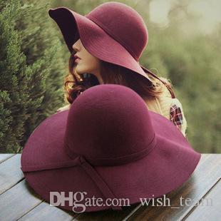 Ala ancha 2017 Nuevo Fortín sombrero de las mujeres sombrero de fieltro grande del jugador de bolos de Fedora sombrero flojo de Sun del Bowknot cloché casquillo de las mujeres 10 colores al aire libre