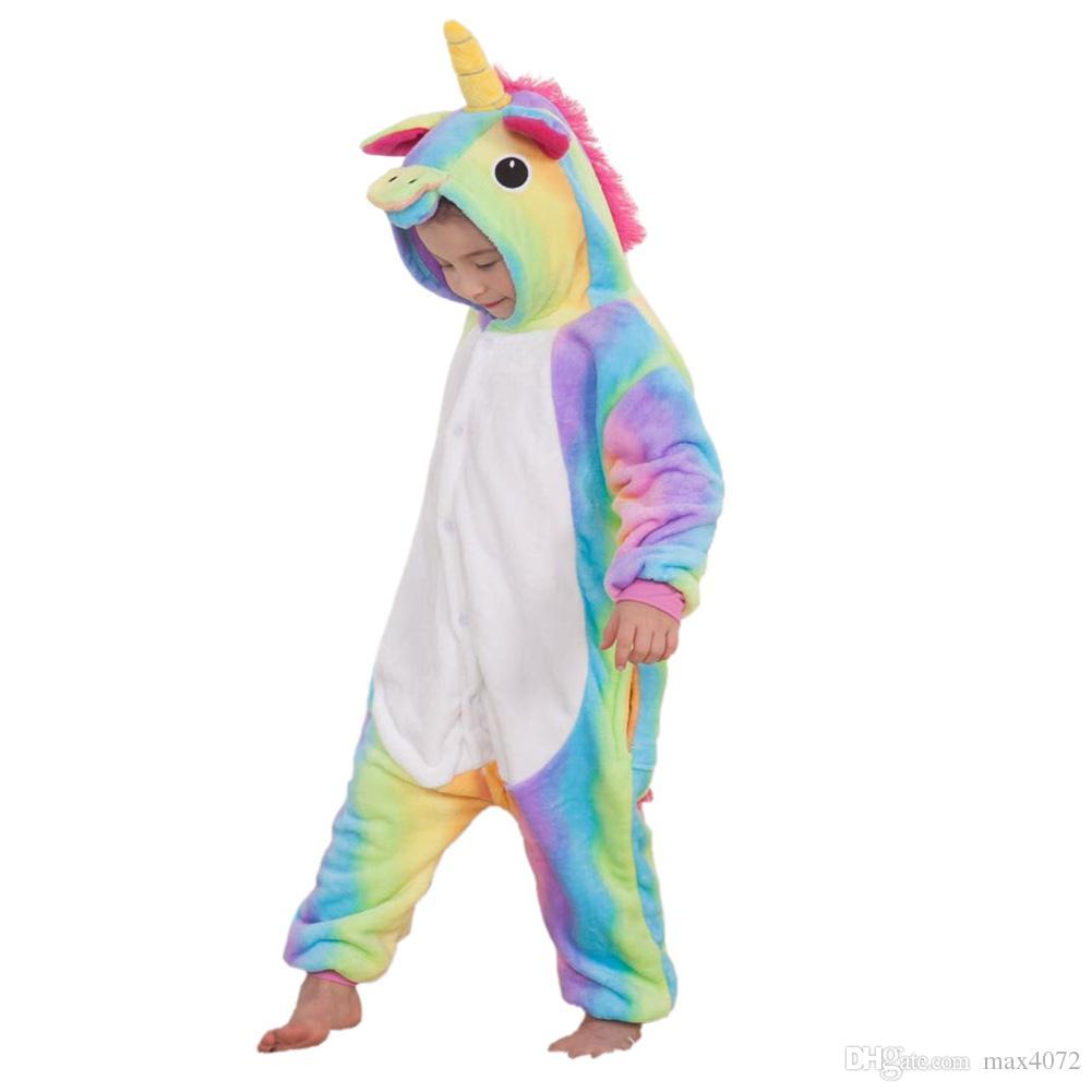 pyjamas de bande dessinée unicorn cosplay licorne cosplay raninbow pyjama en flanelle pour 3-10ans enfants garçons filles vêtements de nuit chauds épais