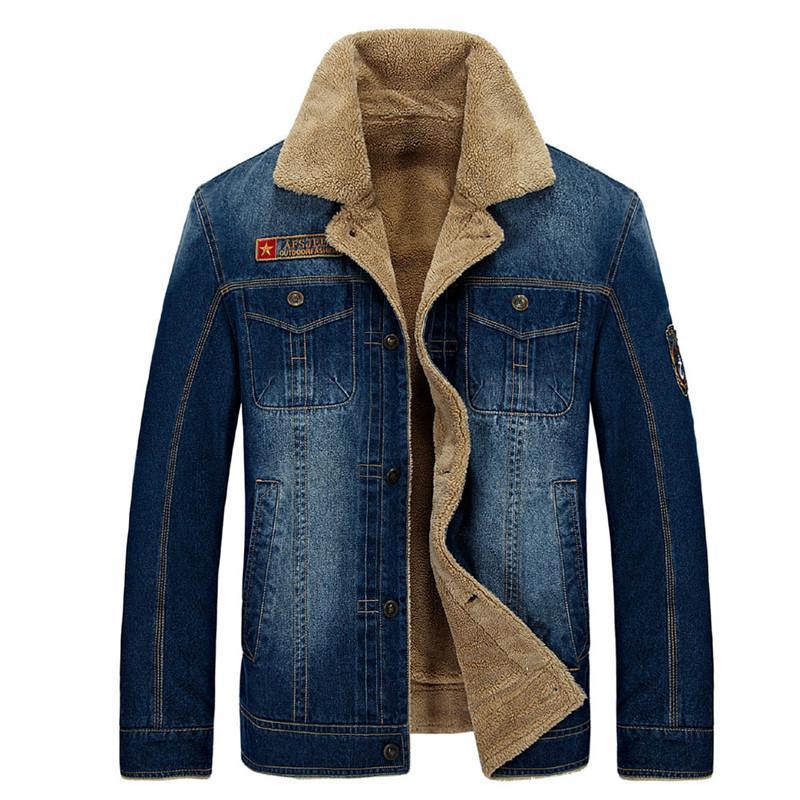 Nianjeep jaquetas jeans lã quente inverno Homens Aqueça Coats Moda Men Jackets Downs Casual Grosso Outwear Plus Size XXXL 4XL