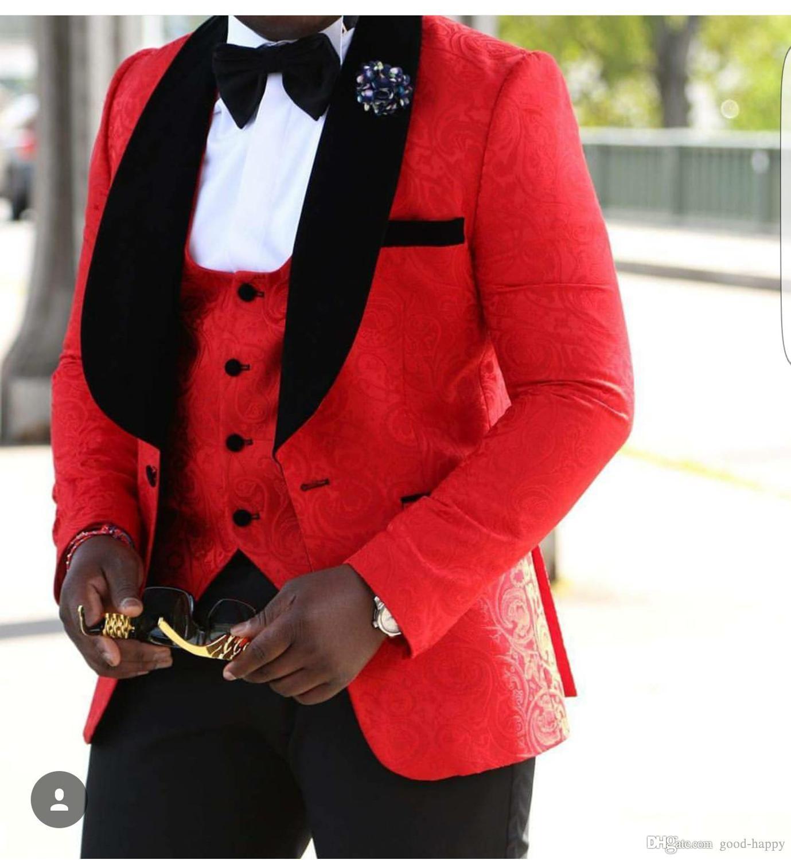 Nueva moda Un botón Rojo Paisley Novios Esmoquin Padrinos de boda Blazer Excelente Hombre de negocios Formal Traje de fiesta de graduación (chaqueta + pantalones + corbata + chaleco) NO; 936